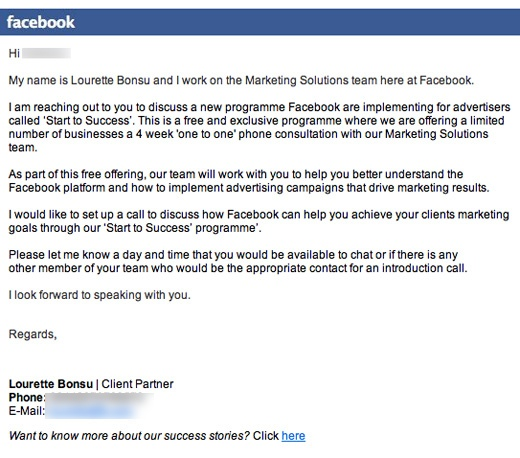 fb email Facebook blindly contacting businesses in hopes of landing new advertisers