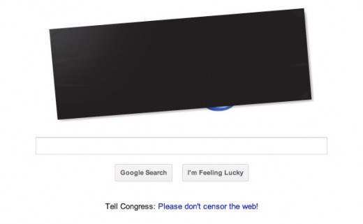 googlesopa 520x321 Google goes dark in protest over SOPA, but not how you would expect