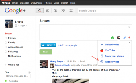 image00 520x318 New feature lets you skip YouTube and record video right in Google+