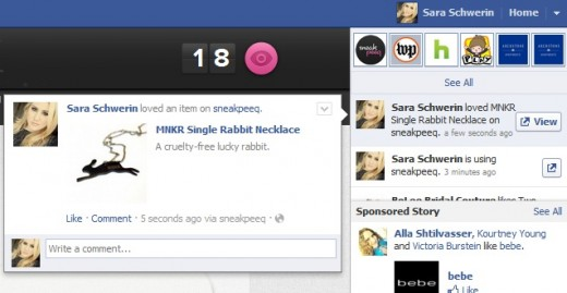 lovescreenshot 520x269 Facebook Open Graph partner sneakpeeq gets its own action, peeq