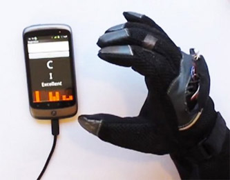 sign language glove This glove works with an Android app to translate sign language into text