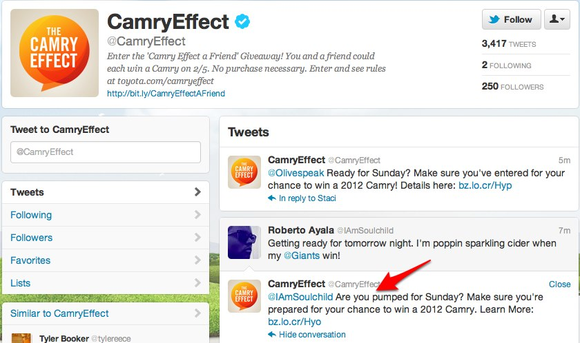 CamryEffect camryeffect on Twitter Toyota takes to spamming Twitter for Camry Super Bowl promotion