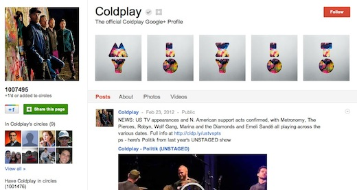 Coldplay Google Coldplays Google+ page is the first to reach 1 million followers