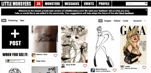 LittleMonsters Private Beta 520x252 Lady Gagas strength in community starts to shine on Little Monsters