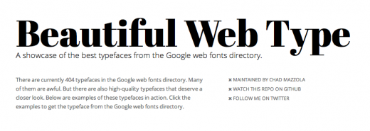 Screen Shot 2012 02 07 at 5.25.06 PM 520x185 This site shows off how gorgeous Google Web Fonts really can be