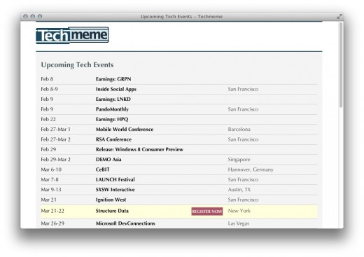 Screen Shot 2012 02 08 at 3.30.21 PM 520x367 Techmeme is now listing events, as long as theyll be making news