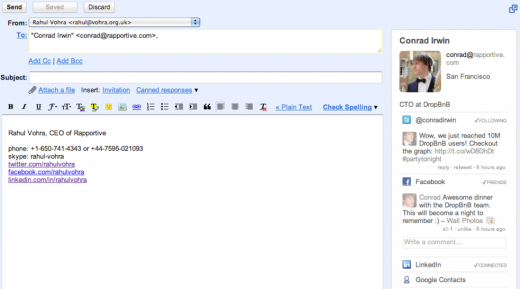 Screen shot 2011 07 15 at 12.50 Linkedin officially acquires Rapportive, but will continue supporting Gmail contact plugin