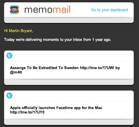 memomail Memolane emails you reminders of your online past, hopping on Timehops bandwagon