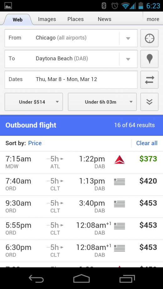 mobile flight search 1 1 520x924 Google tweaks Flight Search on mobile, making it easier to customize your trips