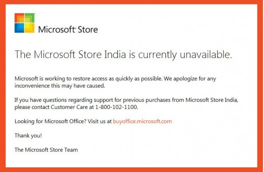 ms india down 520x338 Microsoft India backtracks, hack may have exposed customer credit card details after all
