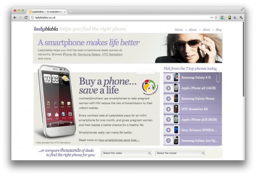 Screen Shot 2012 03 01 at 13.00.16 520x358 Choose a new smartphone and help fight HIV in Africa with Ladyblabla