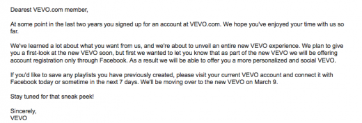 Screen Shot 2012 03 02 at 01.27.32 520x177 VEVO will soon *only* be offering account registration through Facebook