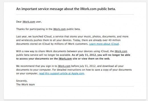 Screen Shot 2012 03 09 at 12.26.00 PM 520x353 Apple tells iWork.com beta users service will be shut down on July 31st, recommends iCloud