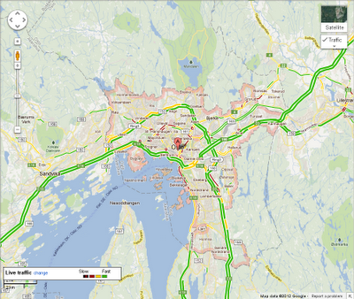 Traffic in Oslo Google Maps adds traffic conditions for Norway, New Zealand, and Hong Kong
