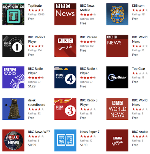 appslist bbc Why the Windows Phone Marketplace is looking more like a slimy app cesspool every day
