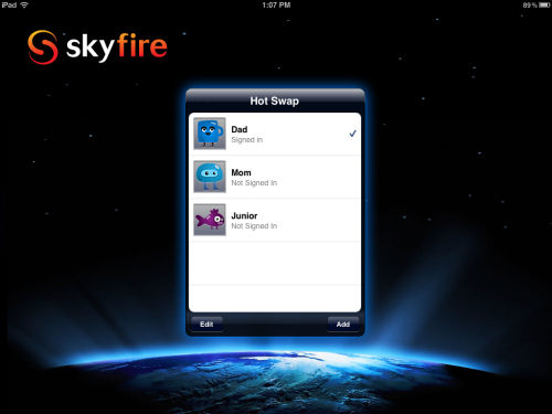 dad Skyfire web browser for iPad adds support for multiple accounts with HotSwap feature