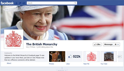 monarchyfb The British Monarchy on Facebook; Ones timeline goes back to 1952