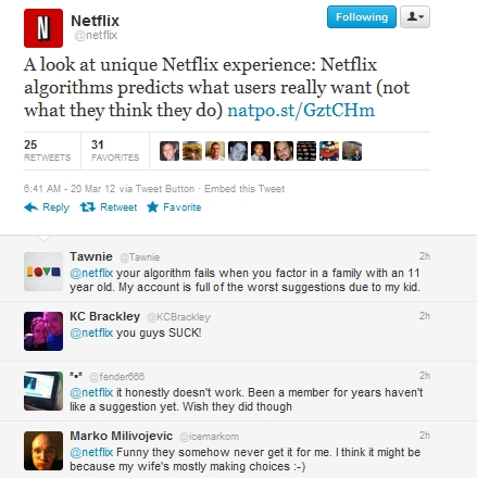 netflix tweet Netflix on how it predicts what users really want, not what they think they want