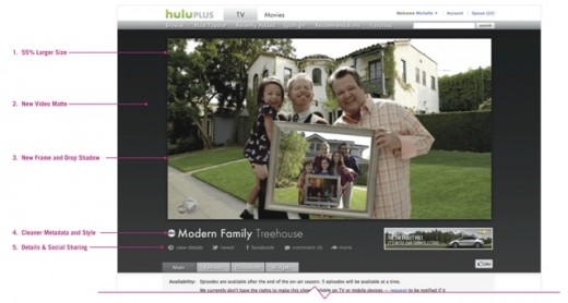 player 520x278 Hulu gets a BIG update as it rolls out a new online video player thats 55% larger