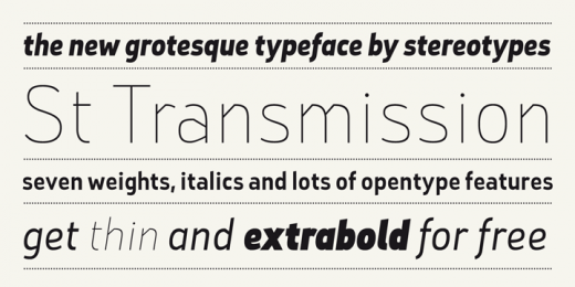 st transmission 200 520x260 7 Beautiful display typefaces you can download right now for free