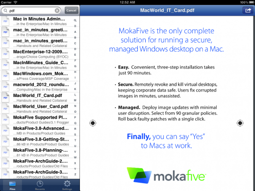 MokaFive for iOS iPad 520x390 MokaFives new iOS app serves enterprise BYOD market with access to secure corporate files
