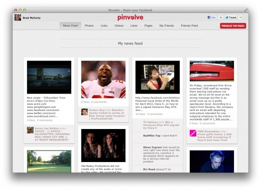 Screen Shot 2012 04 23 at 9.30.32 AM 520x380 Pinvolve is a beautiful, Pinterest styled app for browsing Facebook
