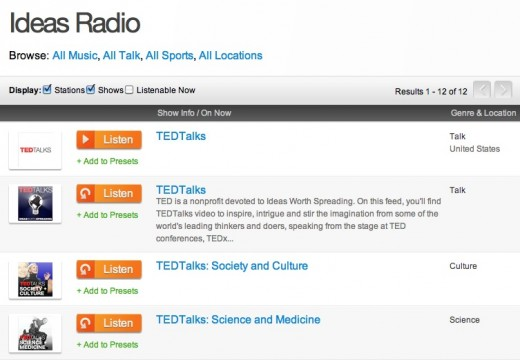 Screen shot 2012 04 10 at 11.57.20 AM 520x360 TED Podcasts now available to 30 million TuneIn listeners
