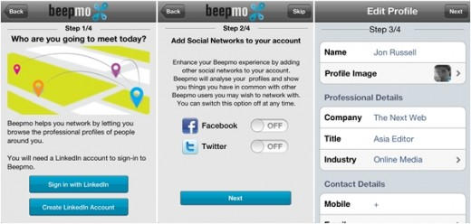 beepmo setup 520x248 Mobile app Beepmo makes networking on LinkedIn as simple as Foursquare check ins
