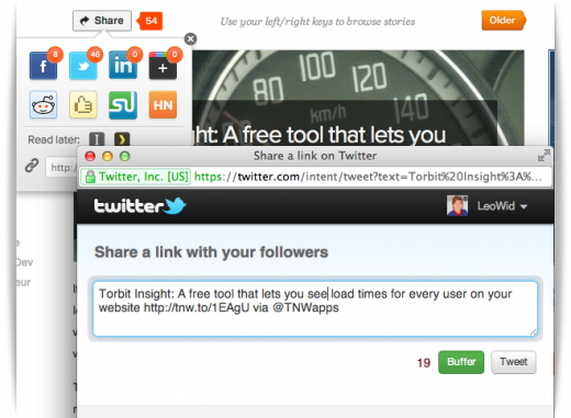 buffer button 3 520x381 Tweet queuing service Buffer launches Chrome extension to integrate with Twitter.com