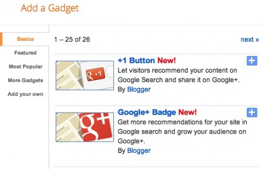gadget lists 520x335 Google brings Google+ to Blogger users with two new social gadgets