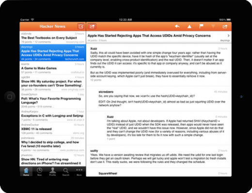 hn app 520x399 Hacker News app news:yc is now available for the iPad and iPod Touch