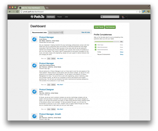 pathto user dashboard 520x431 Path.to relaunches to shake up how job candidates and employers find one another