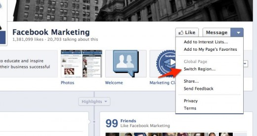 2 Facebook Marketing 520x276 Facebook is testing out regional page switching on its own brand pages