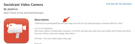 App Store Socialcam Video Camera 1 520x171 Did Socialcam buy its way to the #1 app store spot by using FreeAppADay?