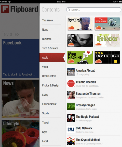 Audio 520x625 Flipboard moves into audio. You can now listen while you browse.