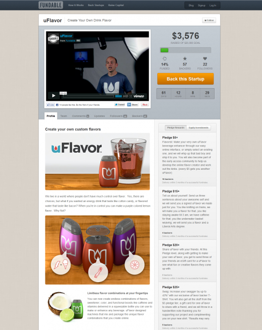Fundable.com uFlavor profile FULL 520x655 Fundable launches to take on startup crowdfunding, fusing CircleUp and Kickstarter into a single platform