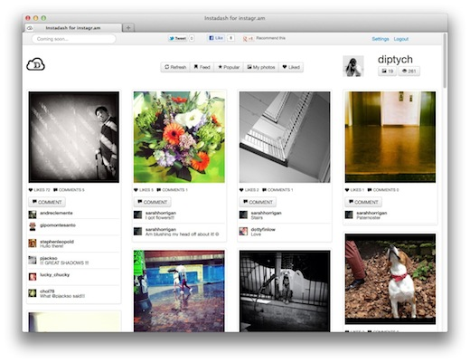 InstaDash Instadash: A slick Pinterest inspired Instagram Web app built in just 12 hours