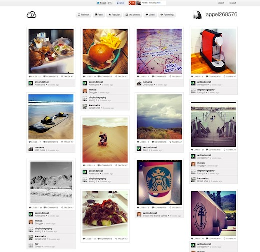 Instadash: A slick Pinterest inspired Instagram Web app built in just 12 hours