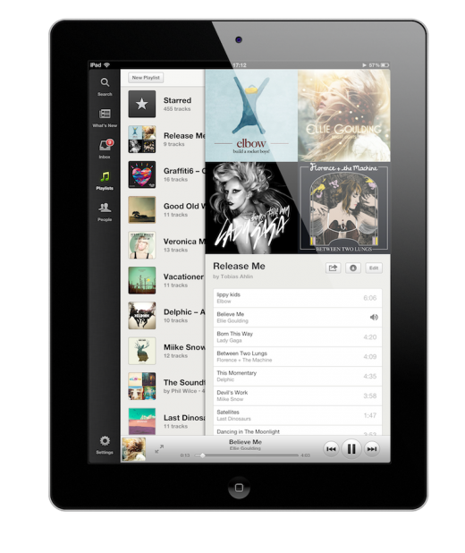 Playlists with frame 520x618 The wait is finally over: Spotify finally launches its new iPad app