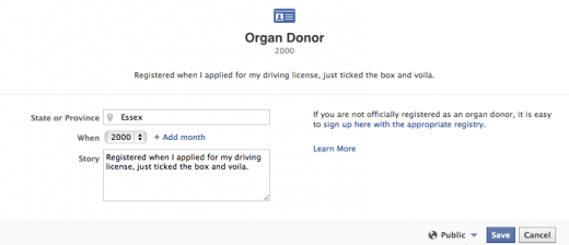 Screen Shot 2012 05 01 at 11.20.17 520x224 Facebooks new life saving feature: Share that youre an organ donor on your Timeline