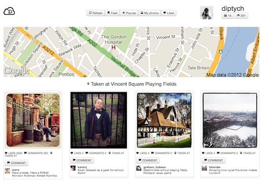 Screen Shot 2012 05 15 at 2.02.53 PM Instadash: A slick Pinterest inspired Instagram Web app built in just 12 hours