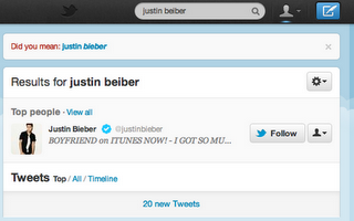 bieber spelling Twitter has provided 5M corrections and 100M suggestions with new search features
