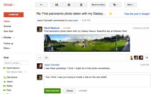 interactivenotifications 1 520x325 Gmail adds full suite of Google+ features, including commenting and +1s