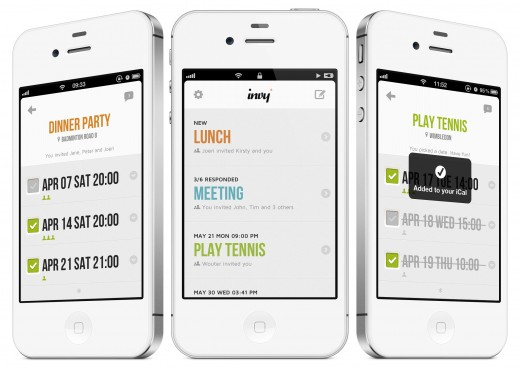 invy app screens 520x370 Invy: This simple event planner app lets you pick a date with friends and family