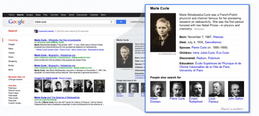 marie curie1 520x234 Googles Knowledge Graph shows it doesnt just want you to search, it wants you to stay