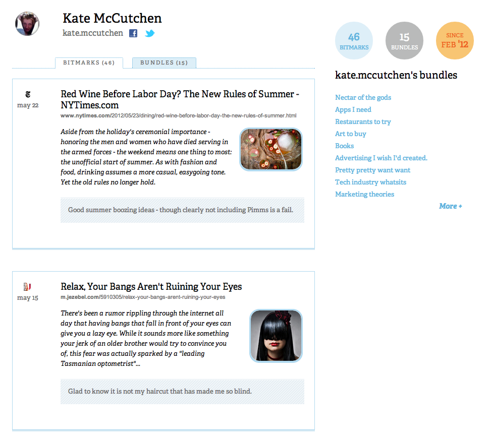 profile kate cropped Bitly launches social discovery features, a complete redesign, iPhone app & new Chrome Bookmarklet