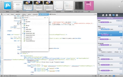 shot2 520x325 Panic launches two new Web development apps: Coda 2 for Mac and Diet Coda for iPad