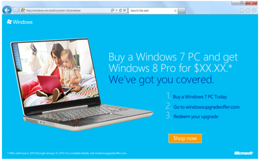 win8upgradeoffer 520x320 It will set you back $15 to upgrade to Windows 8, if you want to buy a new PC