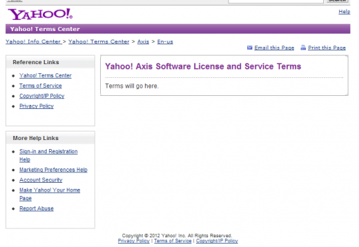 yahoo axis1 520x358 Whoops, someone forgot to publish the Yahoo Axis terms and conditions
