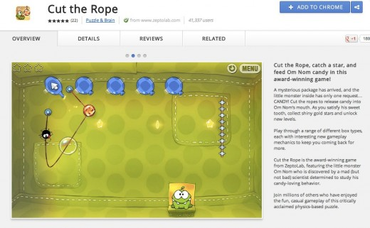 Chrome Web Store Cut the Rope 520x321 After 100M mobile downloads, Cut the Rope comes to Chrome Web Store